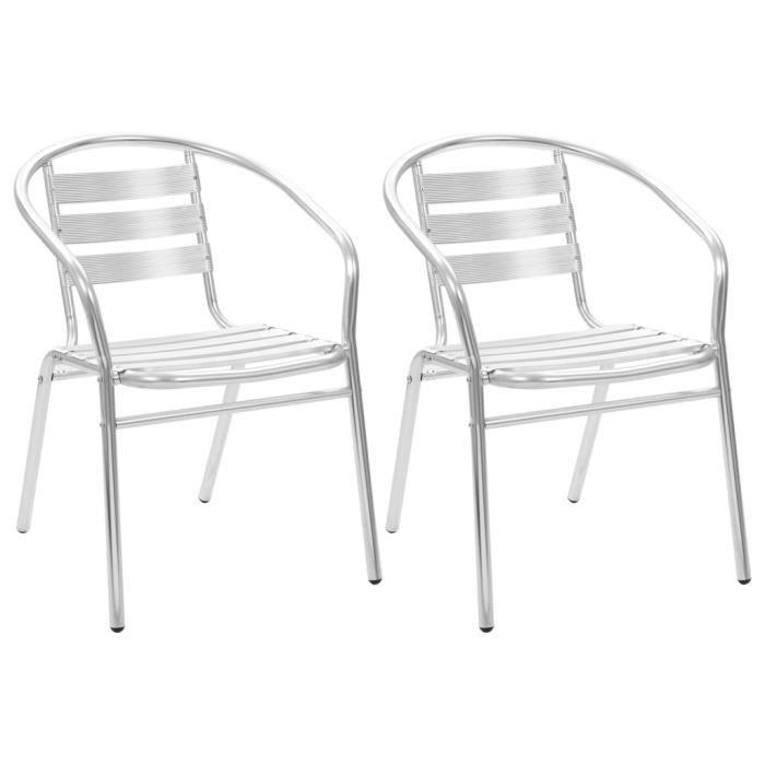 Chaises empilables d'extérieur 2 pcs Aluminium