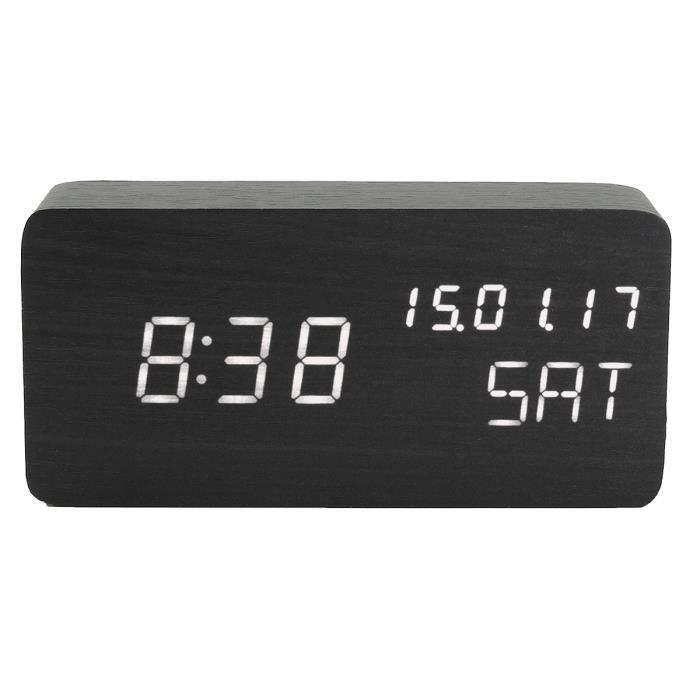 Digital LED Reveil Horloge Thermomètre USB en bois alarme électronique Contrôle vocal Muet Lumineux Type D Ve14674