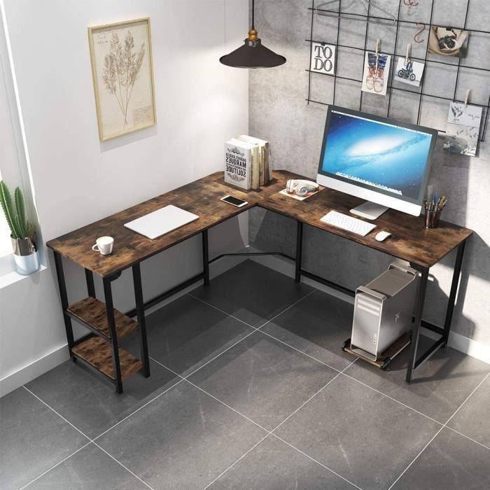 Bureau d'étude angulaire 148x148 design industriel métal 2 étagères Southport