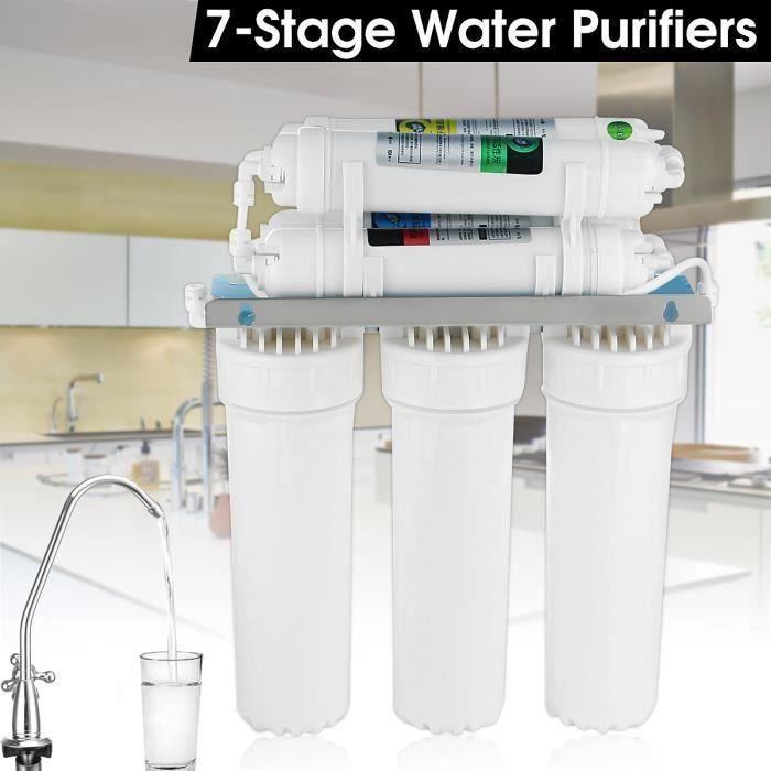 Station de Filtration Eau 7 Etapes Anti Impureté Filtre Purificateur Robinet Cuisine 120L-H