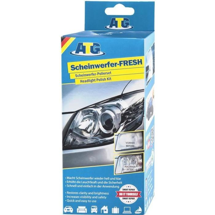 ATG Polish pour voiture - renovateur phare - 16-tlg. - Kit d'entretien polisseuse voiture polish pour voiture phare moto - avec ,136