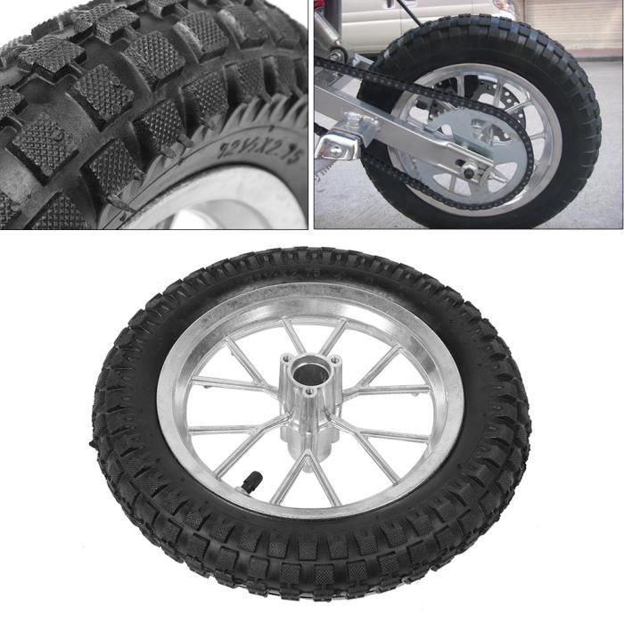 Drfeify Pneu de moto Roue de pneu avant arrière de moto de 12,5 x 2,75 pouces avec jante pour Coolster 49cc 2 temps Mini Dirt Bike