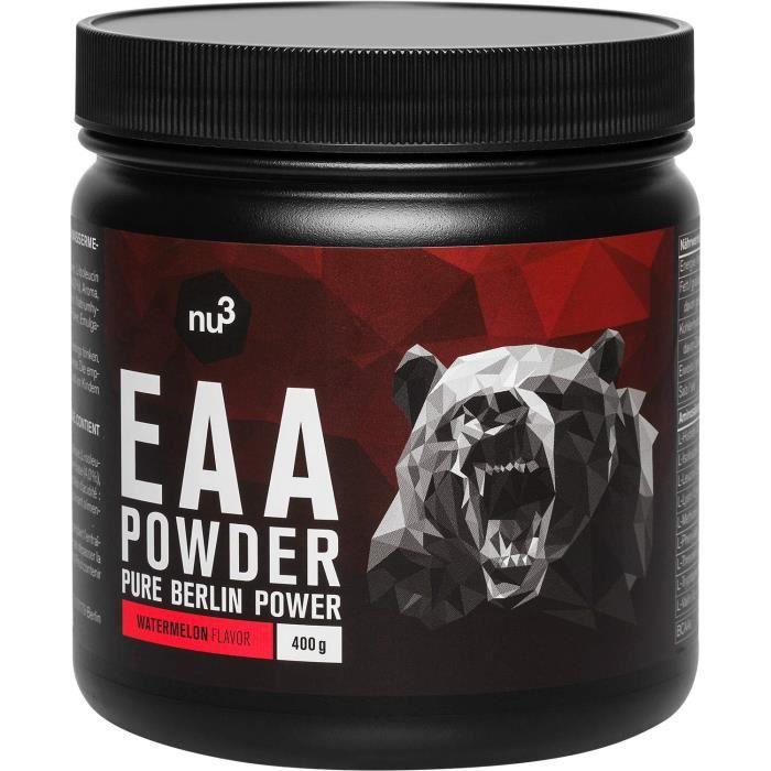 Nu3 EAA Vegan en poudre 400g goût pastèque – 8 acides aminés essentiels – Complément sportif pour le développement musculaire - P