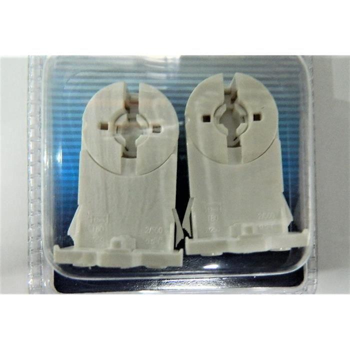 2 x Douille clipsable sur reglette à verrouillage pour tube néon fluo