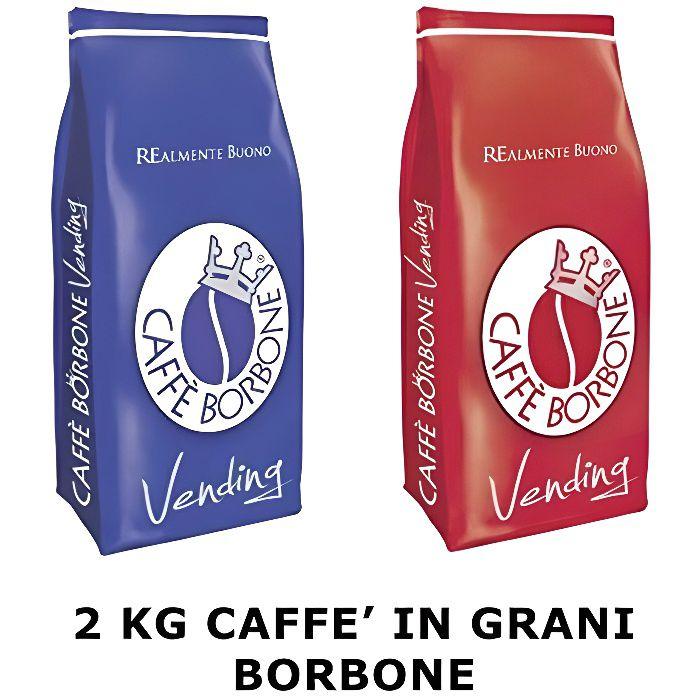 Caffè Borbone - Grains mélange Bleu 1Kg Red mélange Pack de 1 kg 2 Pièces