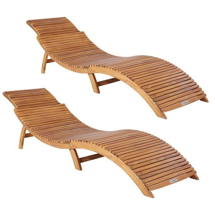 2x Chaises longues pliables en bois d'acacia avec appuie-tête réglable 190 x 60 x 51 cm Bain de soleil jardin extérieur