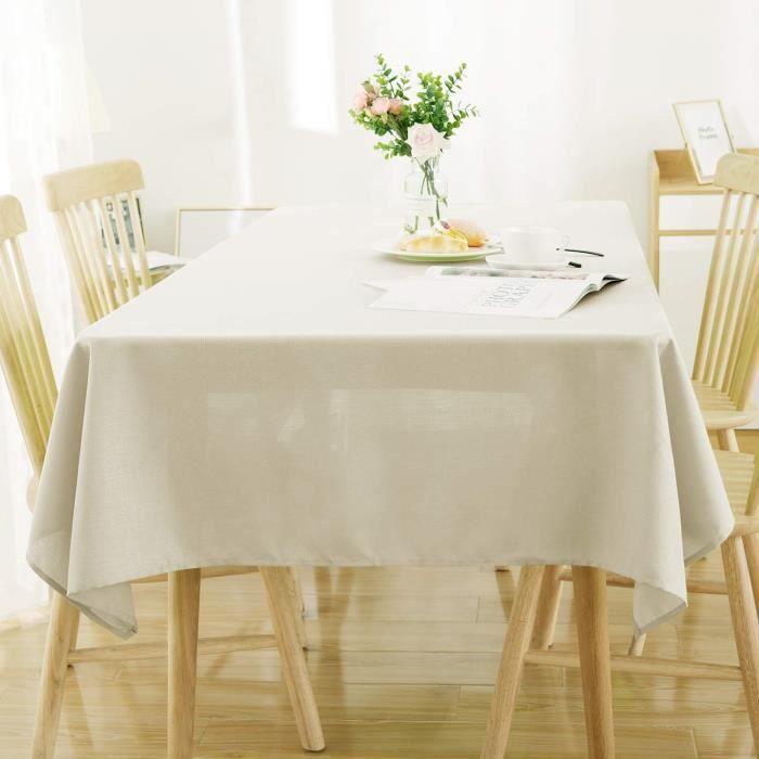 Deconovo Nappe Rectangulaire Impermeable Effet Lin pour Table 140x200cm Beige