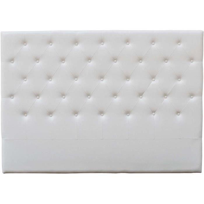 TETE DE LIT CAPITONNEE 180 CM DECO EN PVC - BLANC