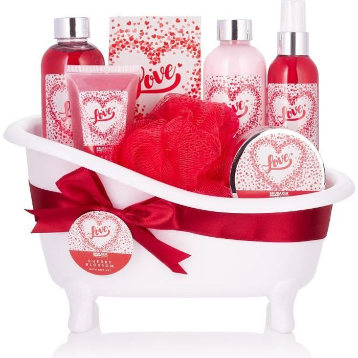 BRUBAKER Cosmetics Coffret de bain & douche - 7 pcs. - dans une baignoire décorative - Idée cadeau - Love - Fleur de cerisier