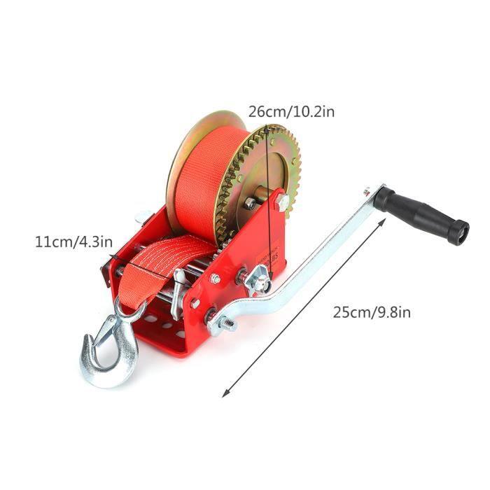 Treuil manuel fort avec ceinture de 32,8 pieds 3500 livres de capacité de charge ATV outil de remorque marine (rouge)-FUT〄