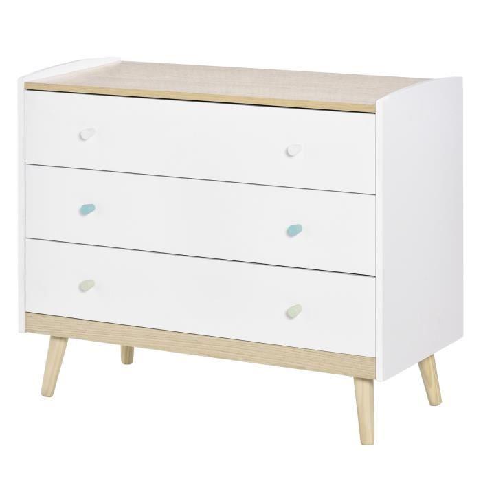 Commode 3 tiroirs design scandinave meuble de rangement chambre MDF blanc aspect chêne clair piètement effilé bois massif de pin
