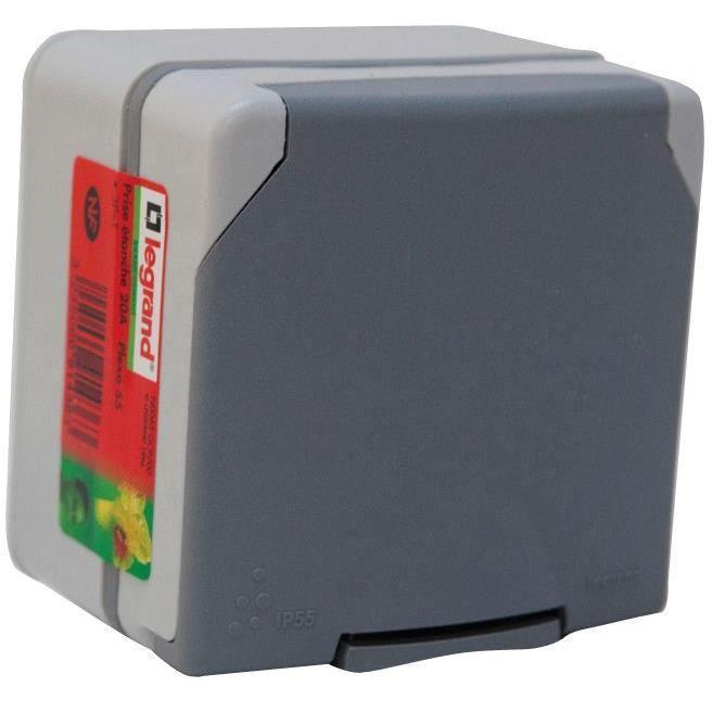 LEGRAND Prise de courant 3P+T 20A étanche IP55 Plexo gris