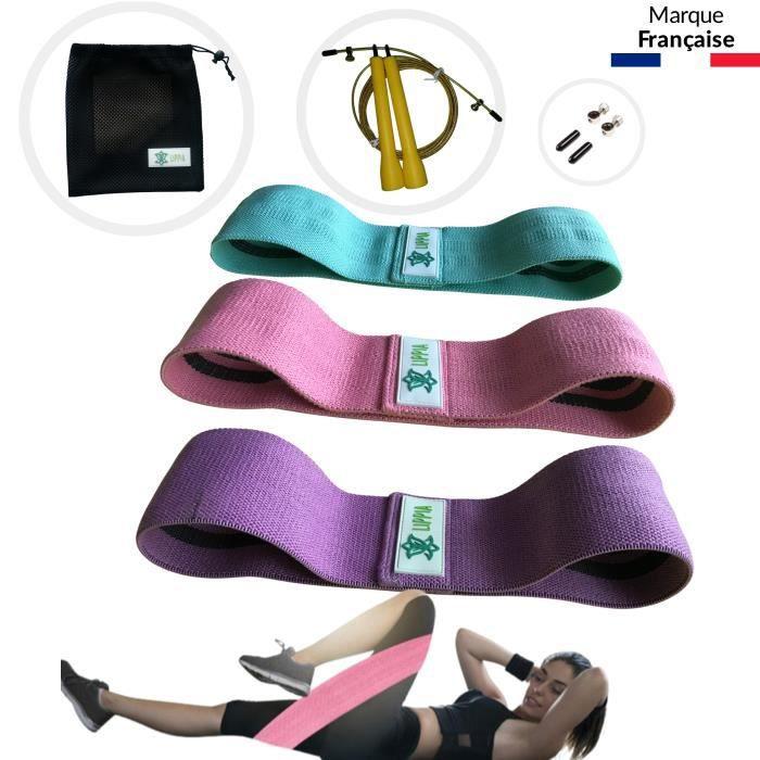 LIPPIA® PACK Bandes tissu élastique Fitness antidérapant rose-violet-vert / 3 niveaux de résistance / une corde à saute Jaune