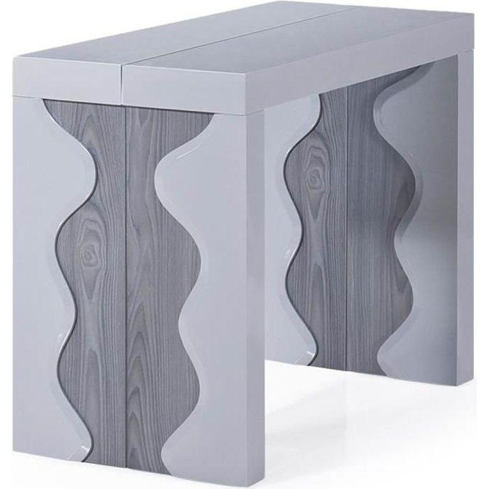 Table Console Ariel XL Laquée Gris & Chêne Gris