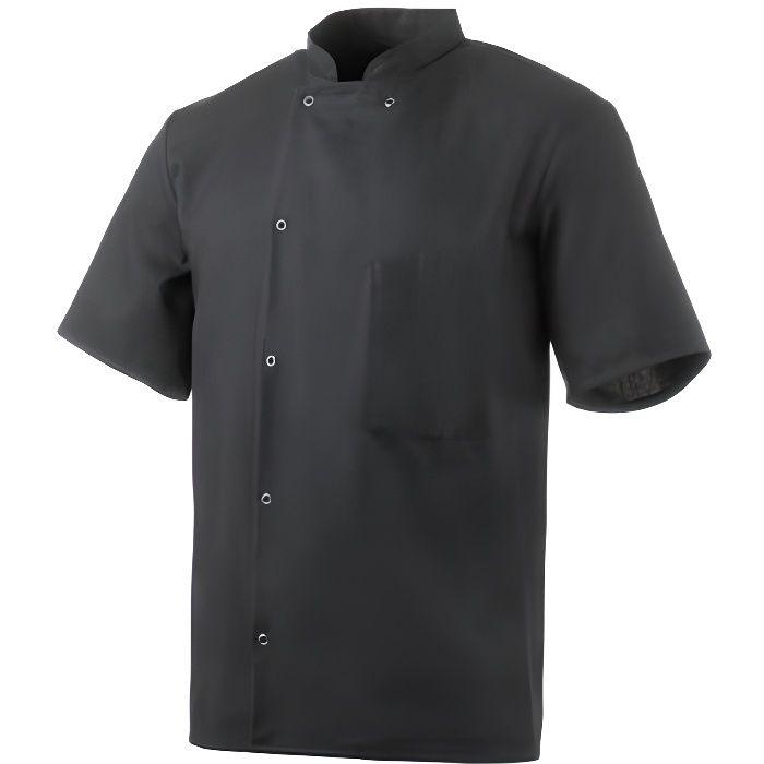 Veste de cuisine mixte manches courtes Robur Inox - Noir - XXS