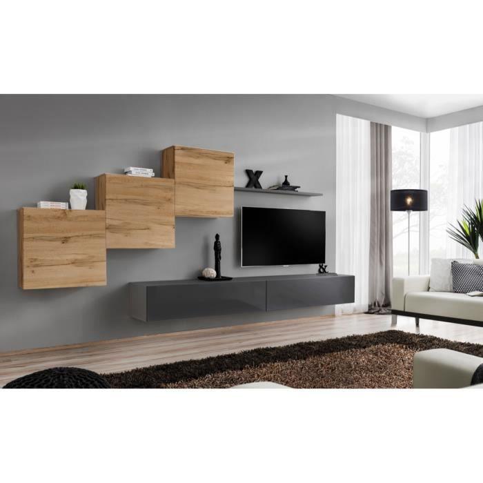 Ensemble meuble salon mural SWITCH X design, coloris gris brillant et chêne Wotan. 40 Gris