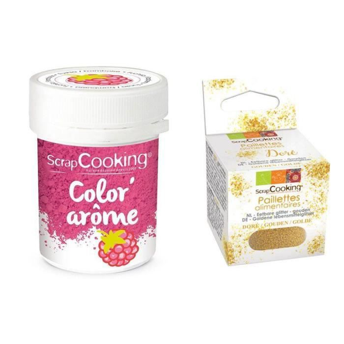 Colorant alimentaire rose arôme framboise + paillettes dorées