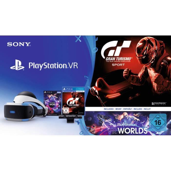 Sony PlayStation VR + PS Camera + PS VR Worlds + GT Sport, Casque de visualisation dédié, Noir, Blanc, 100°, Monotone, OLED