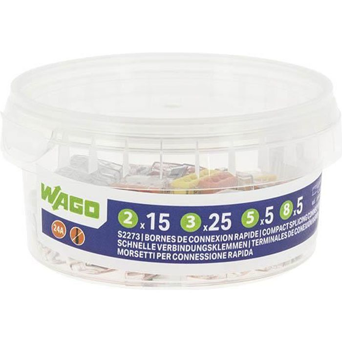 WAGO - Pot de 50 bornes de connexion automatique S2273 2,3,5 et 8 entrées