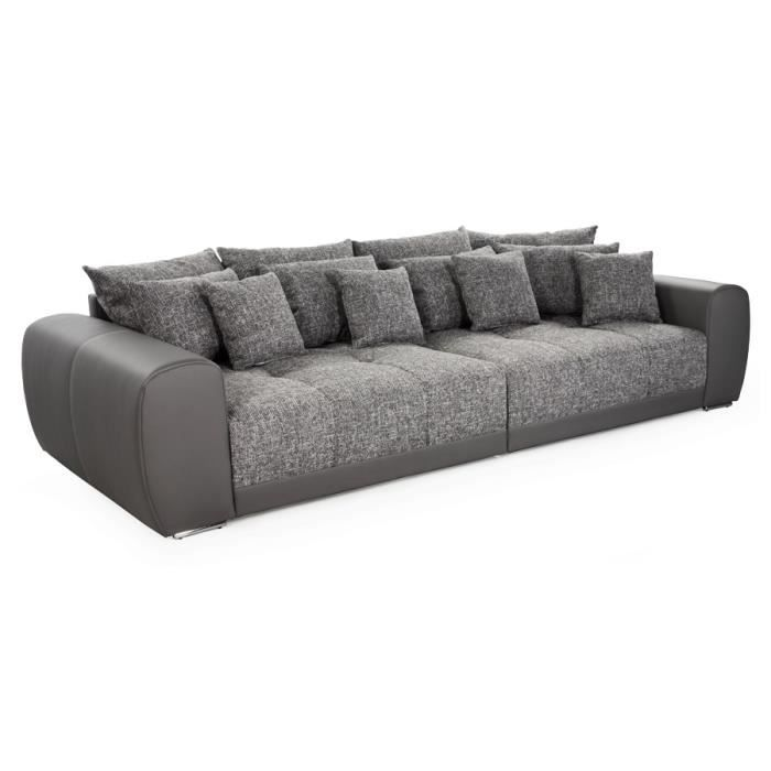 grand canap droit 39 byouty 39 gris fonc 4 places achat vente canap sofa divan cdiscount. Black Bedroom Furniture Sets. Home Design Ideas