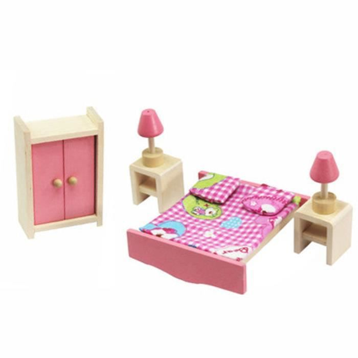 bois miniature dollhouse meubles jouets set chambre cuisine d ner salle de bain salon jeux de. Black Bedroom Furniture Sets. Home Design Ideas