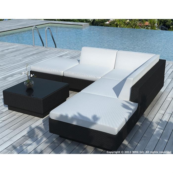 salon de jardin noire coussin blanc sd9509 achat vente salon de jardin salon de jardin. Black Bedroom Furniture Sets. Home Design Ideas