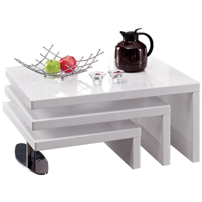 table basse 3 plateaux pivotants blanc laqu achat vente table basse table basse 3. Black Bedroom Furniture Sets. Home Design Ideas