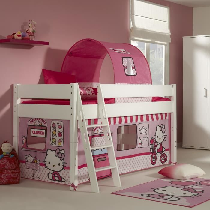 lit mi hauteur pour enfant 90x200 design hello kitty achat vente lit mezzanine lit mi. Black Bedroom Furniture Sets. Home Design Ideas