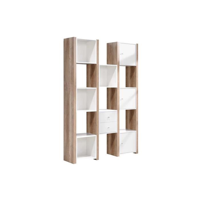 Biblioth que 8 cases blanc naturel bois papier d cor follow achat vente - Bibliotheque 6 cases ...