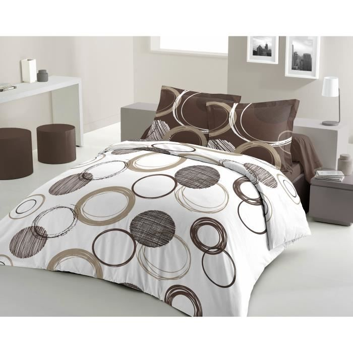 casatxu housse 220x240cm 2 taies audace chocolat achat vente parure de couette cdiscount. Black Bedroom Furniture Sets. Home Design Ideas