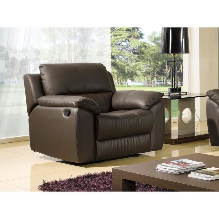 fauteuil luxe 1 place relaxation cuir chocolat achat. Black Bedroom Furniture Sets. Home Design Ideas