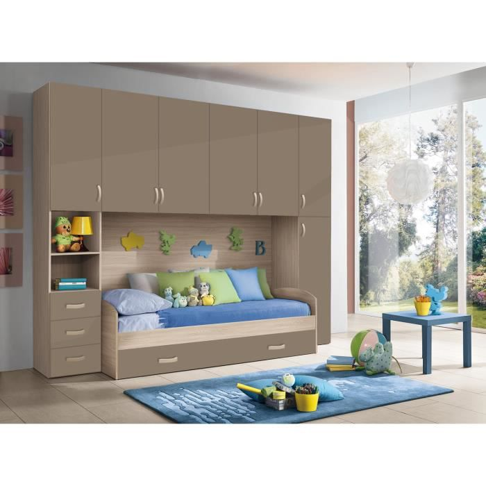 chambre d 39 enfant compl te hurra combin lit pont d cor orme beige taupe achat vente. Black Bedroom Furniture Sets. Home Design Ideas