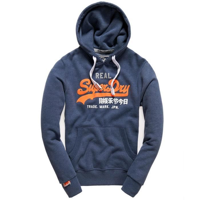 sweat superdry homme capuche vintage bleu orange bleu bleu achat vente sweatshirt cdiscount. Black Bedroom Furniture Sets. Home Design Ideas