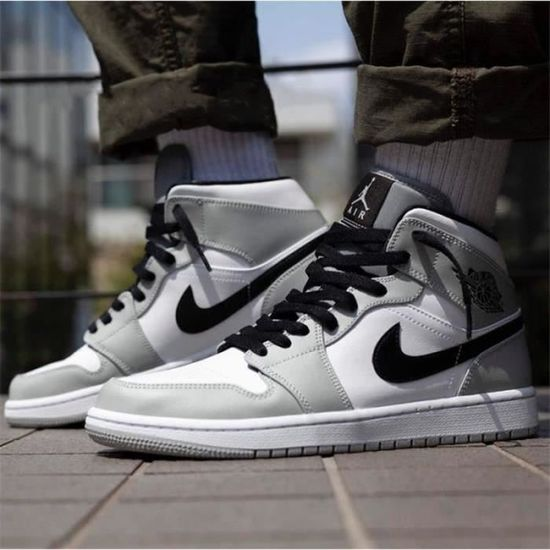 Basket Airs Jordans 1 Mid Chaussures Homme Femme Gris Airs Jordans ...