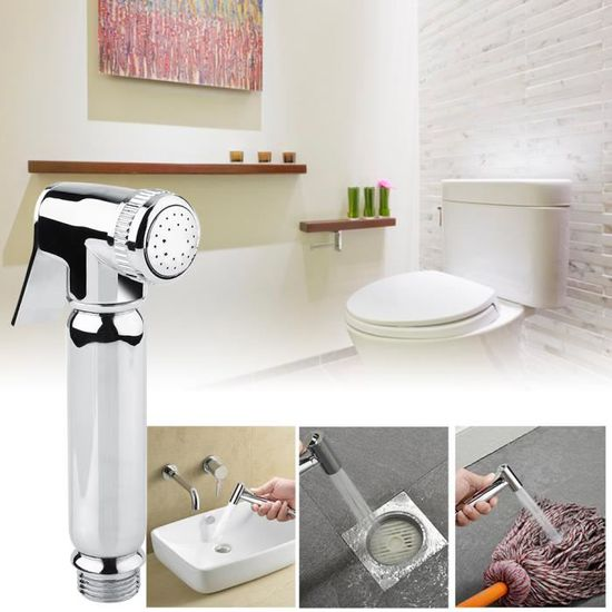 Pommeau de Douche Toilette en Laiton Plaqu/é Chrome Carr/é pour Lavabo Ou Acier Inoxydable Handheld Bidet Toilettes Pulv/éRisateur avec Tuyau 59 Pouces Et Support Support,PVC Hose