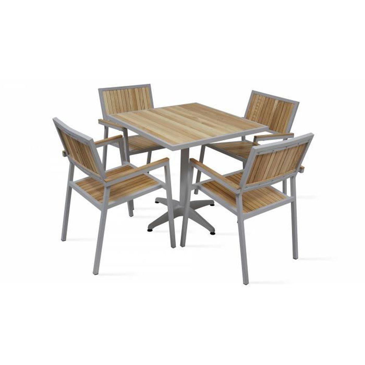 Salon de jardin 4 places - Table carrée et chaises en alu et ...