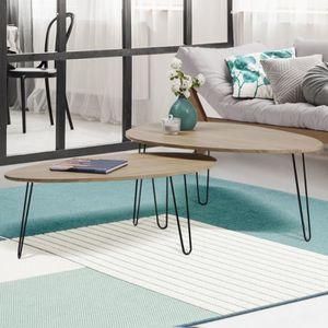 TABLE BASSE Lot de 2 tables basses gigognes effet bois pieds e