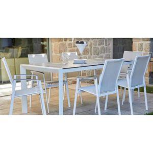 SALON DE JARDIN  Ensemble de jardin en aluminium avec table gris cl