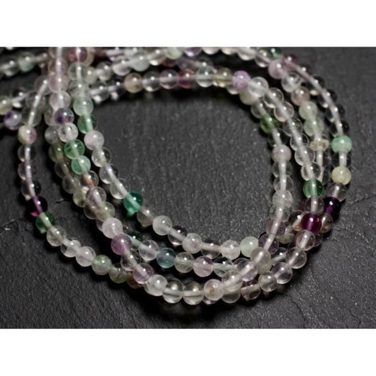 8741140005150 Fluorite Multicolore Boules 4mm 30pc Perles de Pierre