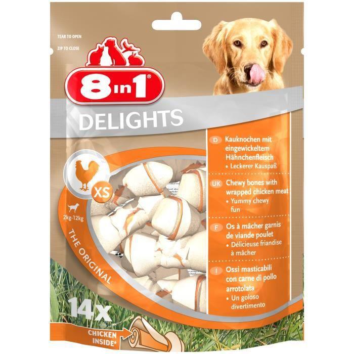 8IN1 Friandise os à mâcher Delight - Garni de poulet - 14 pièces - Pour chien de 2 à 12 kg