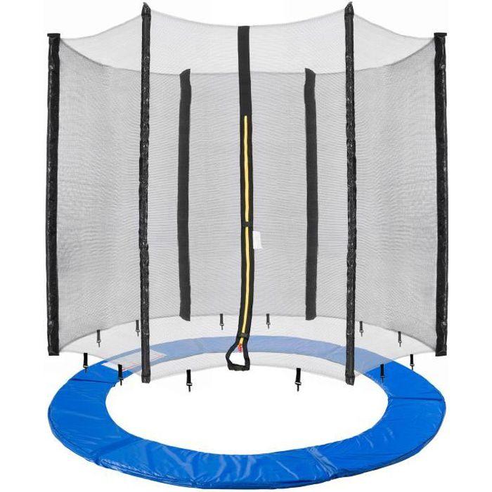 Arebos 490cm Coussin de protection pour trampoline + filet pour 8 tiges