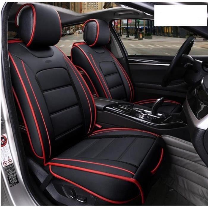 Housses de Sièges Avant Grand Confort En Cuir Noir Rouge VW Passat Golf Polo Tiguan