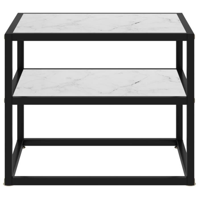 Table console Blanc 50x40x40 cm Verre trempé HB051 -BOT