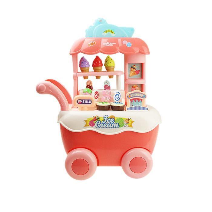 【un camion】Enfants fille couleur panier de crème glacée cuisine jouet ensemble éducation bricolage jouet cadeau_YU5438