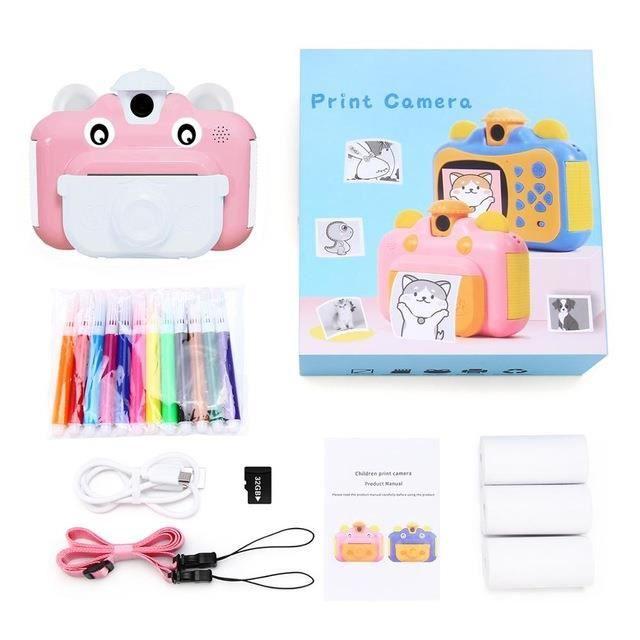 Appareil photo jouet pour enfants à impression instantanée 1080P HD avec papier photo thermique, adapté à une carte TF de 32 Go