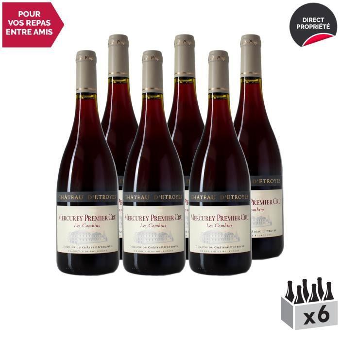 Mercurey premier cru Les Combins Rouge 2017 - Lot de 6x75cl - Château d'Etroyes - Vin AOC Rouge de Bourgogne - Cépage Pinot Noir