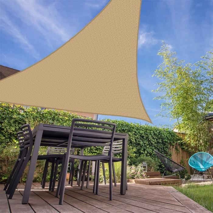 Voile d'ombrage résistante au vent 280g-m2 - Triangulaire - 4 x 5 x 6 m - Beige. - Coté Store