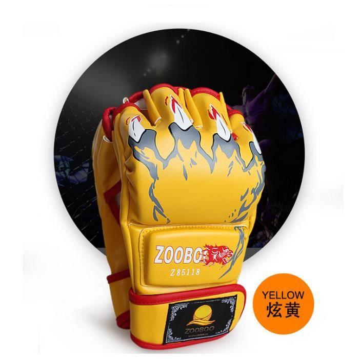 Gants de boxe Sanda gants Gants Muay Thai demi-doigts Gants UFC MMA gants (tigres, jaune)