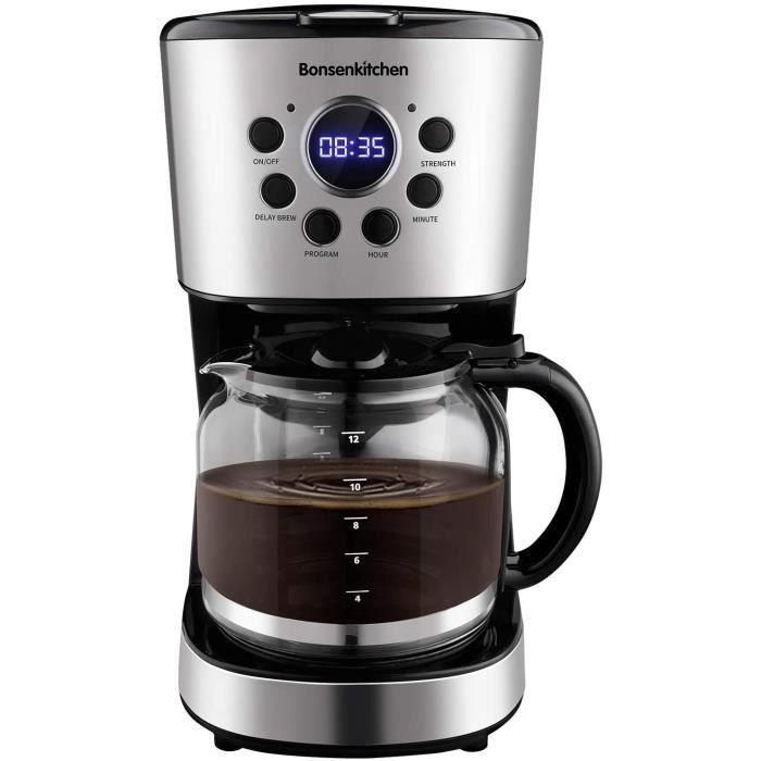 Bonsenkitchen Cafetière Filtre, Cafetière Electrique Programmable à 12 Tasses(1.5L), Fonction Maintien au Chaud, Arrêt Automatique,