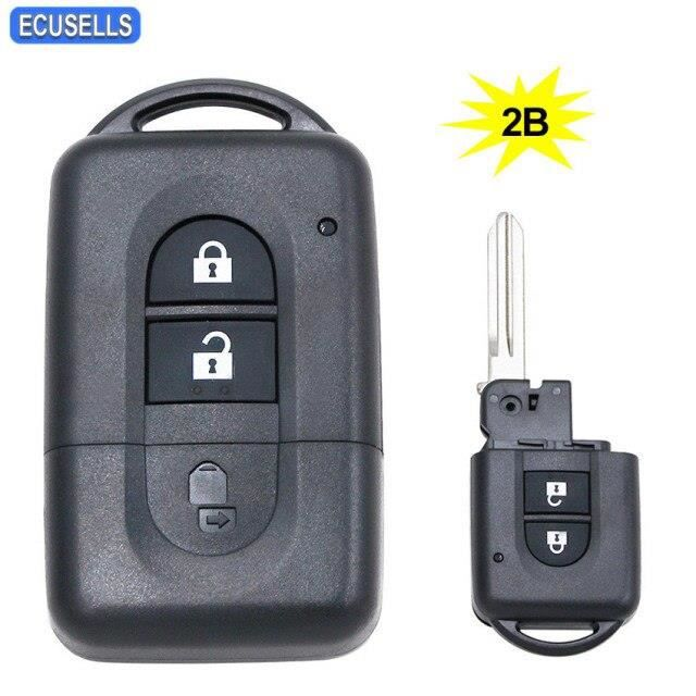 Coque de clé télécommande intelligente à 2 boutons, boîtier de clé pour Nissan Micra x trail Qashqai Juke Duke Pathfinde*QK0254